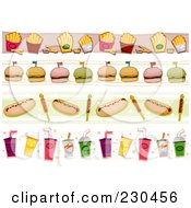 Royalty Free RF Clipart Illustration Of A Digital Collage Of Fast Food Border Designs by BNP Design Studio