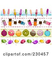 Royalty Free RF Clipart Illustration Of A Digital Collage Of Sweets Border Designs by BNP Design Studio