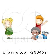 Royalty Free RF Clipart Illustration Of Diverse School Kids With A Blank Sign 12