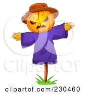 Royalty Free RF Clipart Illustration Of A Scarecrow With A Jackolantern Face by BNP Design Studio