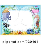 Cute Animal Border Of Pirate Sea Life Around White Space