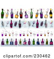 Royalty Free RF Clipart Illustration Of A Digital Collage Of Alcoholic Beverage Border Designs