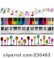 Royalty Free RF Clipart Illustration Of A Digital Collage Of Music Border Designs by BNP Design Studio