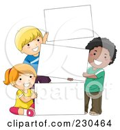 Royalty Free RF Clipart Illustration Of Diverse School Kids With A Blank Sign 9