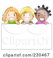 Royalty Free RF Clipart Illustration Of Diverse School Kids With A Blank Sign 6