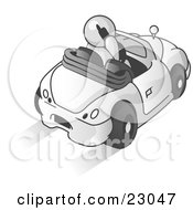 Clipart Illustration Of A White Businessman Talking On A Cell Phone While Driving In A White Convertible Car by Leo Blanchette