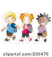 Royalty Free RF Clipart Illustration Of Diverse School Kids Walking To School
