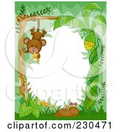Royalty Free RF Clipart Illustration Of A Cute Animal Border Of A Hanging Monkey In The Jungle Around White Space by BNP Design Studio
