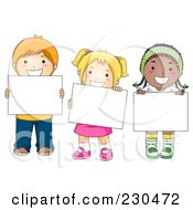 Royalty Free RF Clipart Illustration Of Diverse School Kids With A Blank Sign 3