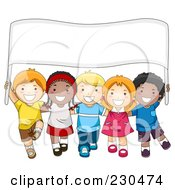 Royalty Free RF Clipart Illustration Of Diverse School Kids With A Blank Sign 1