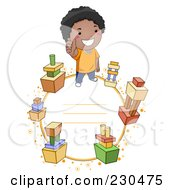 Royalty Free RF Clipart Illustration Of A School Boy Frame With Building Blocks