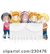 Royalty Free RF Clipart Illustration Of Diverse School Kids With A Blank Sign 4
