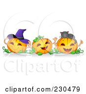 Royalty Free RF Clipart Illustration Of A Border Of Three Happy Pumpkins With A Witch Hat And Cat