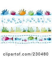 Royalty Free RF Clipart Illustration Of A Digital Collage Of Sea Life Border Designs by BNP Design Studio
