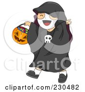 Royalty Free RF Clipart Illustration Of A Happy Boy Dressed As A Skeleton And Carrying A Pumpkin Basket