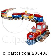Royalty Free RF Clipart Illustration Of A Toy Train On A Curving Track by BNP Design Studio #COLLC230483-0148