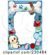 Royalty Free RF Clipart Illustration Of A Cute Animal Border Of A Puppy And Dog Supplies On Blue Around White Space by BNP Design Studio