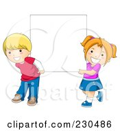 Royalty Free RF Clipart Illustration Of School Kids Holding A Blank Sign 2