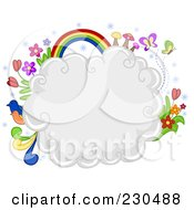 Royalty Free RF Clipart Illustration Of A Puffy White Cloud With Flowers Birds Butterflies And A Rainbow