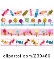 Royalty Free RF Clipart Illustration Of A Digital Collage Of Candy And Ice Cream Border Designs
