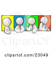 Clipart Illustration Of Four White Men In Different Poses Against Colorful Backgrounds Perhaps During A Meeting by Leo Blanchette