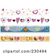 Royalty Free RF Clipart Illustration Of A Digital Collage Of Heart Border Designs