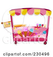 Royalty Free RF Clipart Illustration Of A Pink Ice Cream Cart