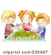 Royalty Free RF Clipart Illustration Of School Kids Making A Volcano