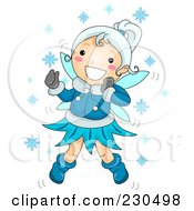 Royalty Free RF Clipart Illustration Of A Happy Winter Fairy Playing In The Snow