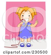 Royalty Free RF Clipart Illustration Of A Happy School Girl Using A Microphone On Stage
