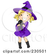 Royalty Free RF Clipart Illustration Of A Cute Halloween Girl In A Witch Costume Holding A Voodoo Doll