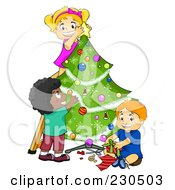 Royalty Free RF Clipart Illustration Of A Diverse Kids Trimming A Christmas Tree Together