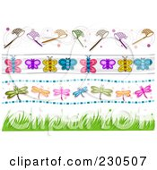 Royalty Free RF Clipart Illustration Of A Digital Collage Of Insect Border Designs