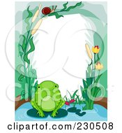 Royalty Free RF Clipart Illustration Of A Cute Animal Border Of A Frog And Aquatic Plants Around White Space by BNP Design Studio