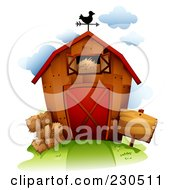 Royalty Free RF Clipart Illustration Of A Weathervane On Top Of A Barn With Hay
