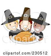 Royalty Free RF Clipart Illustration Of Happy Pilgrim Children Serving A Thanksgiving Turkey by BNP Design Studio