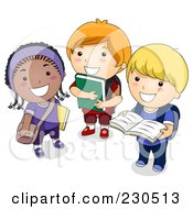 Royalty Free RF Clipart Illustration Of Diverse School Kids Standing With Books