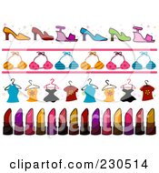 Royalty Free RF Clipart Illustration Of A Digital Collage Of Fashion Border Designs