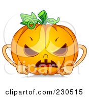 Royalty Free RF Clipart Illustration Of A Mad Halloween Pumpkin