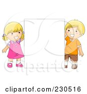 Royalty Free RF Clipart Illustration Of School Kids Holding A Blank Sign 1