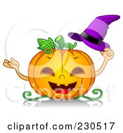 Royalty Free RF Clipart Illustration Of A Happy Halloween Pumpkin Holding A Purple Witch Hat