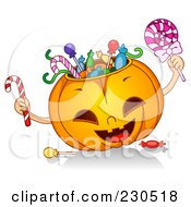 Royalty Free RF Clipart Illustration Of A Happy Halloween Pumpkin Stuffed With Candy by BNP Design Studio
