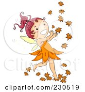 Royalty Free RF Clipart Illustration Of A Happy Fall Fairy Playing With Autumn Leaves by BNP Design Studio