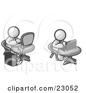 Clipart Illustration Of Two White Men Employees Working On Computers In An Office One Using A Desktop The Other Using A Laptop