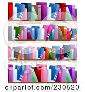 Royalty Free RF Clipart Illustration Of A Wall Of Book Shelves
