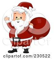 Royalty Free RF Clipart Illustration Of A Friendly Waving Santa Carrying A Red Bag