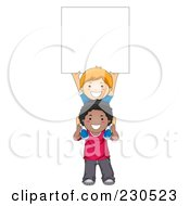 Royalty Free RF Clipart Illustration Of Diverse School Kids With A Blank Sign 11