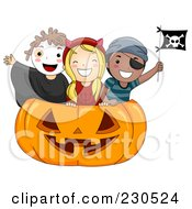 Royalty Free RF Clipart Illustration Of A Happy Kids Inside A Huge Halloween Pumpkin