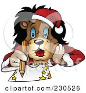 Royalty Free RF Clipart Illustration Of A Christmas Lion Laying On His Belly And Drawing by dero