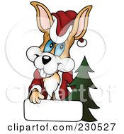 Royalty Free RF Clipart Illustration Of A Happy Christmas Bunny With A Blank Sign